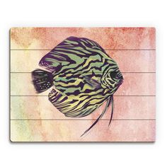 """Click Wall Art Chartreuse Discus Stripes Painting Print on Plaque Size: 20"""" H x 24"""" W x 1"""" D"""