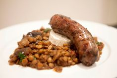 Moroccan Eggplant and Lentils with Homemade Beef Sausage