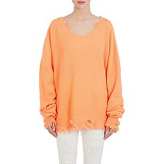 Ben Taverniti Unravel Project Women's Distressed Rib-Knit Cashmere... (258.175 HUF) ❤ liked on Polyvore featuring tops, sweaters, orange, scoop neck cashmere sweater, red sweater, scoop neck sweater, ripped sweaters and ribbed knit sweater