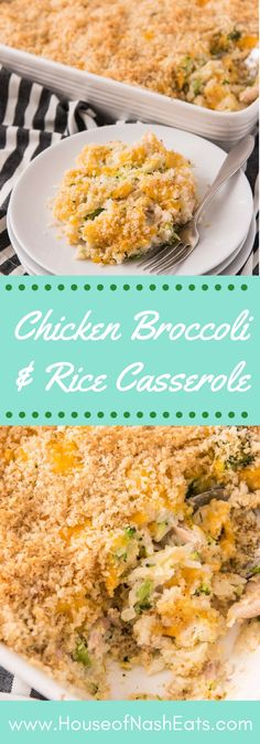 There's something so nostalgic and comforting about a good casserole for a weeknight dinner and this Chicken Broccoli and Rice Casserole hits all the comfort food buttons. It's cheesy and savory with tender bites of chicken and broccoli in every bite. #casserole #chicken #broccoli #rice #comfortfood