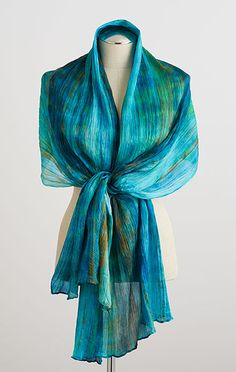 Shibori Silk Scarf-Deep Teal - The Museum Shop of The Art Institute of Chicago