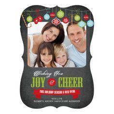 Cute Chalkboard Family Christmas Photo Card