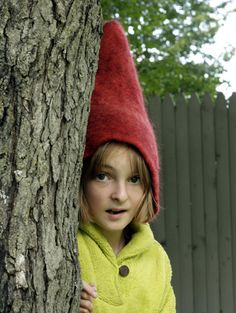 Gnome Hat Felt Gnome Hat Red Hat Wet Felted by TheFeltedGnomeKnows