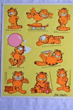 Vintage Stickers Garfield the Cat A Sheet by Pumpkintruckpaper