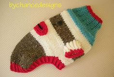 Ravelry: Sock Monkey Dog Sweater pattern by Esther MacInnes - bychancedesigns Crochet Kids Scarf, Crochet Mittens Free Pattern, Dog Sweater Pattern, Crochet Dog Sweater, Knitting Patterns, Snood Pattern, Softie Pattern, Small Dog Sweaters, Holiday Socks