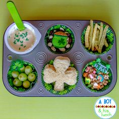 A Boy & His Lunch: St. Patty's Muffin Tin Meal!