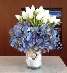 Artificial hydrangea and tulip arrangement