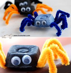 Egg box and pipe cleaner spiders Kids Crafts, Bug Crafts, Toddler Crafts, Preschool Crafts, Projects For Kids, Diy For Kids, Halloween Activities, Halloween Kids, Halloween Crafts