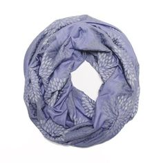 ORIGINAL INFINITY SCARF - Hand Printed - Gray Flowers on Periwinkle *** Find out more about the great product at the image link. (Amazon affiliate link)