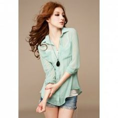 $6.51 Stylish Long Sleeve Perspective Chiffon Shirt for Women