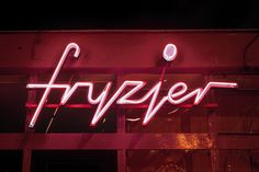 Fryzjer (Hairdresser) neon in Warsaw, Poland. Typography from the socialistic period Neon Jungle, Neon Glow, Typography, Lettering, Neon Lighting, Color Themes, Architecture, Signage, Design Inspiration