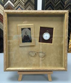 family history shadow box ideas | Beautiful shadowbox displaying family heirlooms. Framed by Fastframe ...