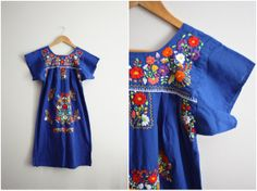 Vtg 70's Royal Blue Mexican Embroidered Boho by PARASOLvintage, $38.00