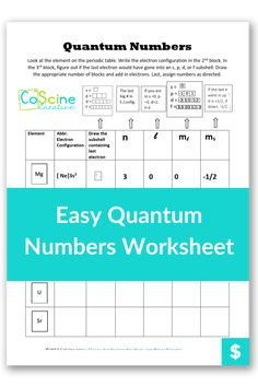 Do you need a simple way to teach quantum numbers that makes sense? This method works every time and high school chemistry students love that it is easy to remember. #quantumnumbers #chemistry Chemistry Classroom, High School Chemistry, Teaching Chemistry, Chemistry Worksheets, Number Worksheets, Chemical Equation, Teaching Strategies, Middle School