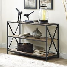 "40"" X-Frame Metal and Wood Media Bookshelf - Barnwood - Free Shipping Today - Overstock.com - 20492994 - Mobile"