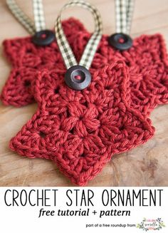 Crochet this easy star christmas ornament from One Little Bird Blog from my free crochet christmas ornaments roundup!