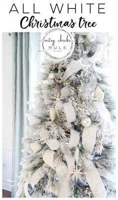 All White Christmas Tree (morning room decor! Purple Christmas Tree, Blue Christmas Decor, Handmade Christmas Decorations, Christmas Themes, Christmas Crafts, Coastal Christmas, Christmas Mantles, Christmas Villages, Xmas Decorations