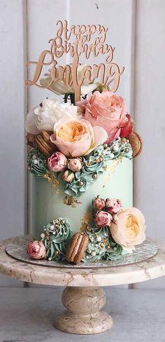 Elegant Birthday Cakes, Latest Birthday Cake, Green Birthday Cakes, 40th Cake, Birthday Cake With Flowers, Cute Birthday Cakes, Beautiful Birthday Cakes, Birthday Cakes For Women, Birthday Cake For Friend