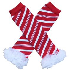 Chiffon Red White Christmas Candy Cane Stripe - Tutu Ruffle Leg Warmers - Toddler So Sydney brand.. Measure approximately 12-13 inches long, 3-3 1/2 inches wide.. One size fits most infant to 10  years.. Perfect to pull on with dresses, skirts and shorts.. Gorgeous look for adorable studio pictures!.