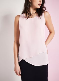 Sleeveless Asymmetric Blouse, Pink | Laura