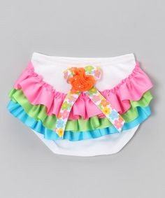 Take a look at this White Rainbow Ruffle Diaper Cover - Infant by Little Diva on #zulily today!