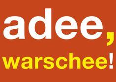 Postkarte: adee, warschee!