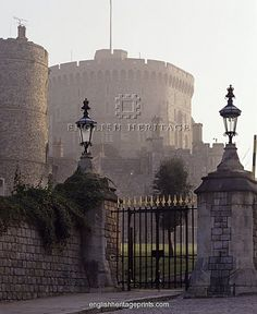 An poster sized print, approx mm) (other products available) - WINDSOR CASTLE, Berkshire. A misty sunrise view of the Round Tower, built - Image supplied by Historic England - poster sized print mm) made in the UK Beautiful Castles, Beautiful Places, Round Tower, Living In England, English Castles, Royal Residence, English Heritage, Windsor Castle, Great Britain