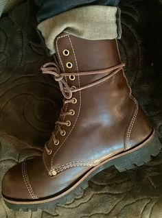 William Lennon modified 78TC with white stitching, 10 eyelets, brass details and Vibram sole. Worn with cuffed Levi 510's