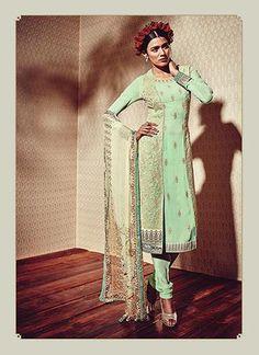 Green Georgette Achkan Style Salwar Kameez Online ,Indian Dresses