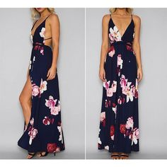 Deep V Backless Floral Dress Spaghetti Strap Dresses, Ankle Length, Dress For You, Fit And Flare, Sleeve Styles, Backless, Clothes For Women, Elegant, Womens Fashion