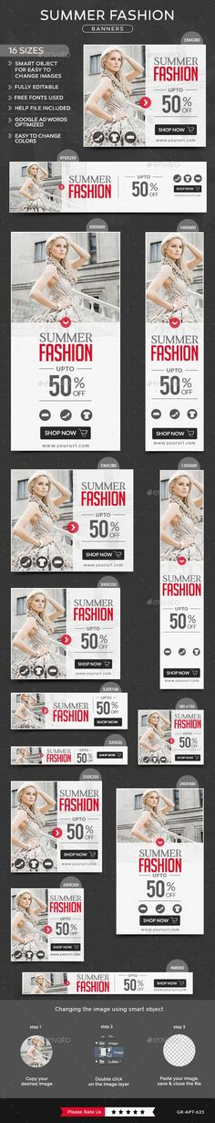 Buy Summer Fashion Banners by Hyov on GraphicRiver. Promote your Products and services related to Summer Fashion niche with this great looking Banner Set. Ad Design, Layout Design, Print Design, Google Banner, Web Banner Design, Web Banners, Fashion Banner, Event Banner, Sale Banner