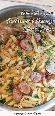 This One-Pot Cajun Chicken and Sausage Alfredo is one of our new favorite meals. It is so simple to make and absolutely packed with flavor. Tender chunks of chicken with smoky pieces of sausage in a rich and delicious homemade alfredo sauce. This meal ser Shrimp And Sausage Pasta, Sausage Pasta Recipes, Chicken Pasta Recipes, One Pot Cajun Pasta, Pasta Food, Recipes With Chicken Tenders And Pasta, Shrimp And Sausage Alfredo Pasta Recipe, Cajun Pasta Recipe, Cajun Chicken Fettuccine Alfredo Recipe