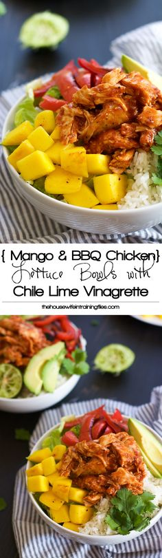 Mango, Black Bean & BBQ Chicken Rice Lettuce Bowls are a quick meal filled with fruit, spice and so many flavors!