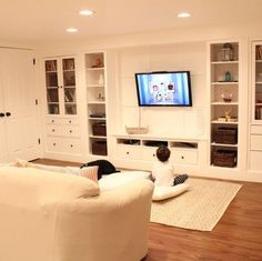Wall of built Ins out of IKEA Hemnes Cabinets - LauRa Limo - Wall of built Ins out of IKEA Hemnes Cabinets design and decor, basement ideas, home decor, shelving ideas, storage ideas - Ikea Hemnes Cabinet, Ikea Cabinets, Ikea Hemnes Bookcase, Ikea Hemnes Tv Stand, Cupboards, Ikea Built In, Muebles Living, Ikea Billy, Basement Storage