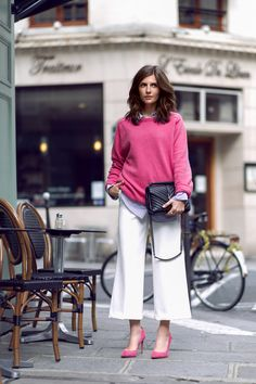 Spring Fling: White Culottes and Pink Pullover - Simple et Chic - Fashion & Lifestyle Blog