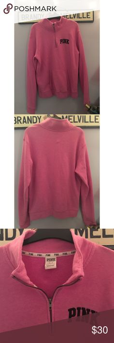 Half Zip from PINK Victoria's Secret Pink quarter varsity zip in the color Pink. Size M. No flaws PINK Victoria's Secret Tops Sweatshirts & Hoodies