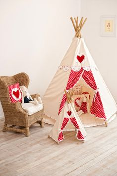 Cute teepee from Kids room - white and res colors with polka dots and a heart. Adorable play tent for playroom / bedroom / nursery. Play Teepee, Teepee Kids, Teepee Tent, Girls Teepee, Kids Tents, Little Girl Rooms, Room Colors, Play Houses, Kids Playing