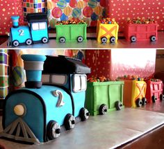 A train party for my lil guy who's turning 4 and still loves trains! Love these train cakes that are A TRAIN! Trains Birthday Party, Train Party, 3rd Birthday Parties, Boy Birthday, Birthday Cake, Birthday Ideas, Pirate Party, Cakes For Boys, Eat Cake