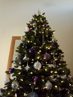 purple and silver christmas big christmas tree decorated christmas trees first christmas christmas - Purple And Silver Christmas Tree Decorations
