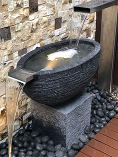 Custom spout + bowl water feature with pebbles and stand and oval bowl Water Features, Outdoor Gardens, Natural Stones, Pond, Fountain, Outdoor Decor, Courtyards, Garden Ideas, Design