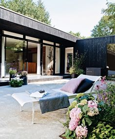 Danish Summer Home by Architect Rasmus Bak Outdoor Spaces, Outdoor Living, Outdoor Decor, Exterior Design, Interior And Exterior, Black Exterior, Danish House, Black House, Future House