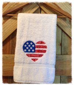 Patriotic Flag July 4th Hand Towel by DoughertyLakeThreads on Etsy