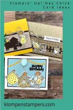 Need ideas for Stampin' Up! Hey Chick and Hey Birthday Chick bundles? I've got all occasion and birthday cards to teach you. If you love making creative cards that are zany and fun you won't want to miss this card making tutorial! www.klompenstampers.com