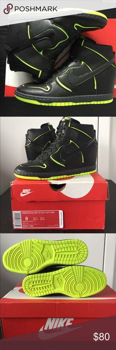Women's Dunk Sky High Size 8 NEW Women's US Size 8 women's Nike Sky High Cut Out. Black leather with a patent leather swoosh. Never worn. Completely sold out everywhere! I own these in another color and they are incredibly comfortable with it's built in wedge. Nike Shoes Sneakers