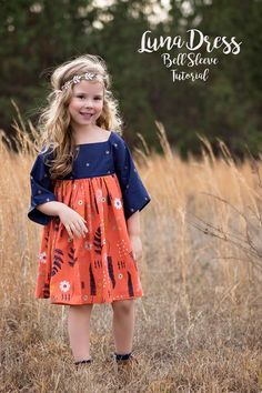 Bell Sleeve {Luna} Dress Tutorial – Violette Field Threads Luna Tutorial Luna Dress Bell Sleeve hack children's clothes girls dress boho baby I want one of these for myself. Baby doll dress with square neck and bell sleeves blue and orange Little Girl Dress Patterns, Toddler Dress Patterns, Sewing Patterns Girls, Little Girl Dresses, Skirt Patterns, Coat Patterns, Blouse Patterns, Kids Outfits Girls, Girl Outfits