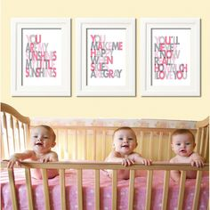 My little Sunshines  11x14 -Set of 3- Wall art print - gray and pink - nursery art. $55.00, via Etsy.
