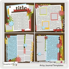 Artsy Journal Templates by Scrapping with Liz