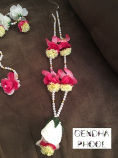 e4c0a360c Custom Made Flower Necklace: single strand of pearls, white rose, pink and  yellow flowers. Order yours in any color combination -  gendhaphoolNJ@gmail.com ...