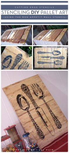 DIY stenciled pallet art using the Bon Appetit wall stencil. http://www.cuttingedgestencils.com/large_stencils_wall.html #stenciling #diy #pallet