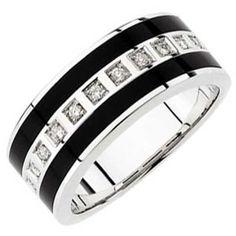 14kt White Gold Stripes Black Onyx and Men's Diamond Band (Jewelry)